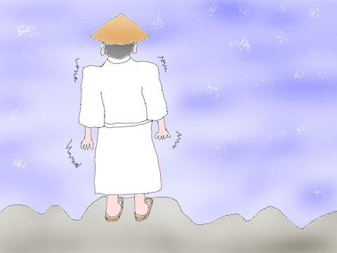 三途の川を渡る人のイラスト